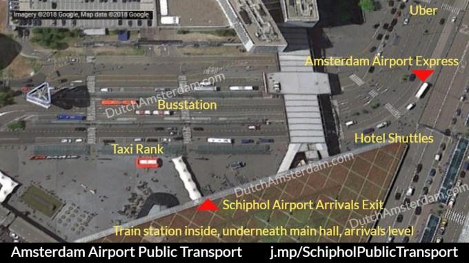 阿姆斯特丹機場往市區搭車位置