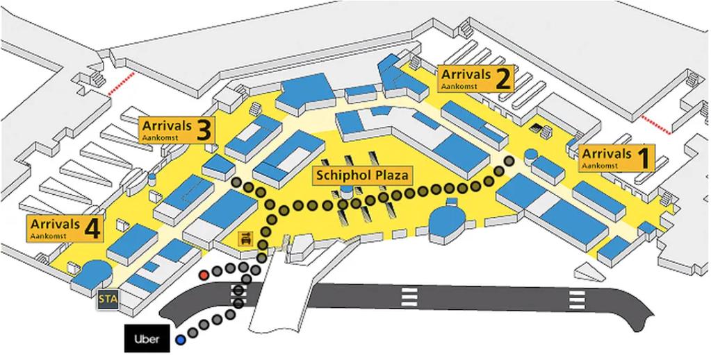 Uber阿姆斯特丹機場搭車位置