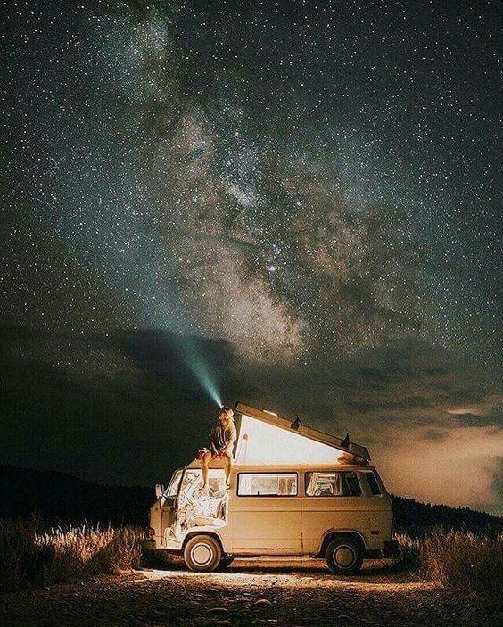camper van and milky way